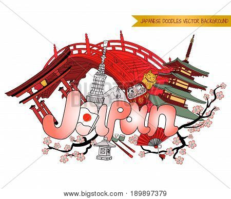 JAPAN doodle background, VECTOR colored illustration isolated on white background