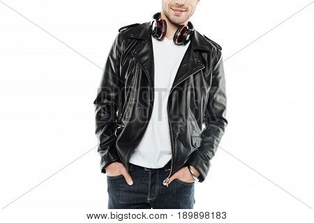 partial view of man in leather jacket with headphones isolated on white