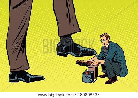 Little Shoe for the big man. Pop art retro vector illustration poster