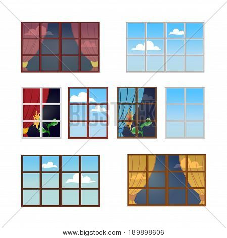 A set of window frames in different colors. Reflection of a Sunny day in the glass. The view from the window at the sky with clouds. Vector illustration. Square location.