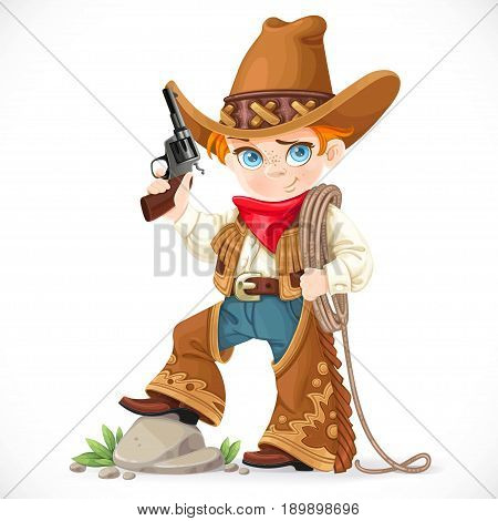 Cute boy with a gun holds the lasso isolated on a white background