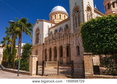 Ayia Napa Cathedral In Limassol, Island Cyprus, Europe. Summer Sunny Bright Day. Retro Vintage Toned