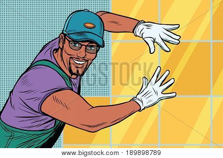 worker Builder puts tile. Construction and decoration. African American people. Pop art retro vector illustration