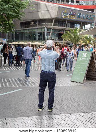 BERLIN GERMANY - JUNE 5 2017: Tourist Taking Pictures At Potsdamer Platz In Berlin