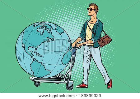 man tourist with a Luggage cart with the planet Earth. Pop art retro vector illustration