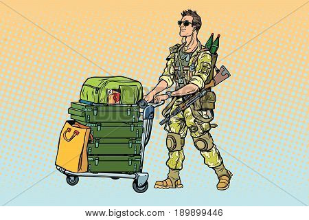Military tourism, the mercenary with a Luggage. War and soldiers. Pop art retro vector illustration