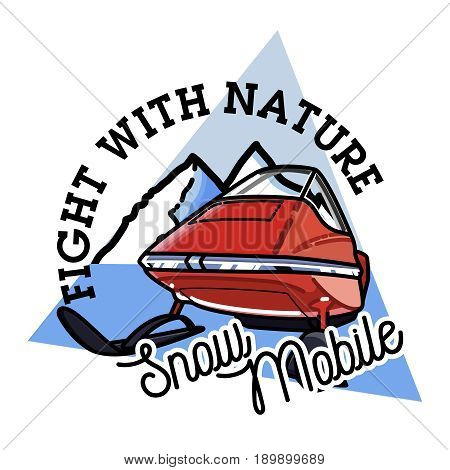 Color vintage snowmobile emblem. Extreme active leisure label.