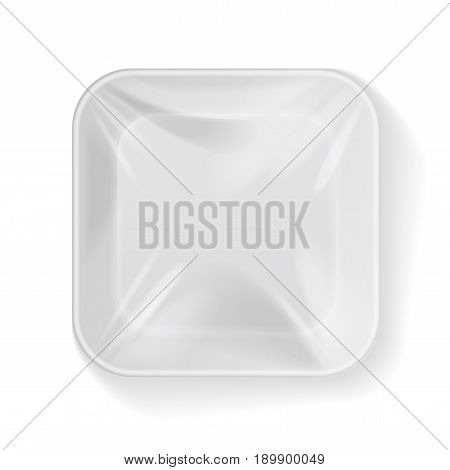 White Square Blank Styrofoam Plastic Food Tray Container. Vector Mock Up Template for your design