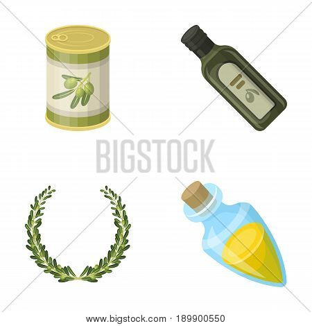 A can of canned olives, a bottle of oil with a sticker, an olive wreath, a glass jar with a cork. Olives set collection icons in cartoon style vector symbol stock illustration .