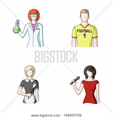 Woman chemist, football player, hotel maid, singer, presenter.Profession set collection icons in cartoon style vector symbol stock illustration .