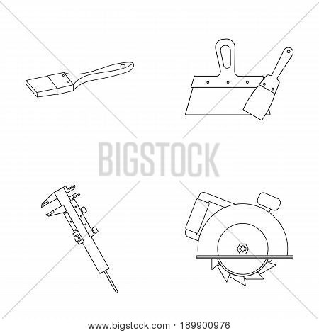 Brush, spatula, caliper, hand circular. Build and repair set collection icons in outline style vector symbol stock illustration .
