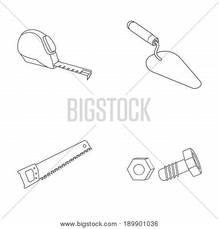 Measuring tape, bolt with nut, trowel, wood hacksaw. Build and repair set collection icons in outline style vector symbol stock illustration .