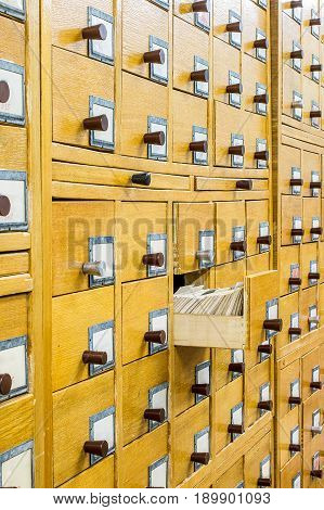 Old Wooden Card Catalogue In Library