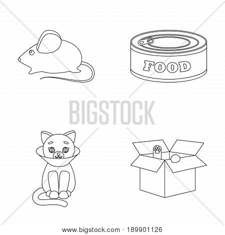 Mouse, food in the bank, sick cat, cat in the box.Cat set collection icons in outline style vector symbol stock illustration .