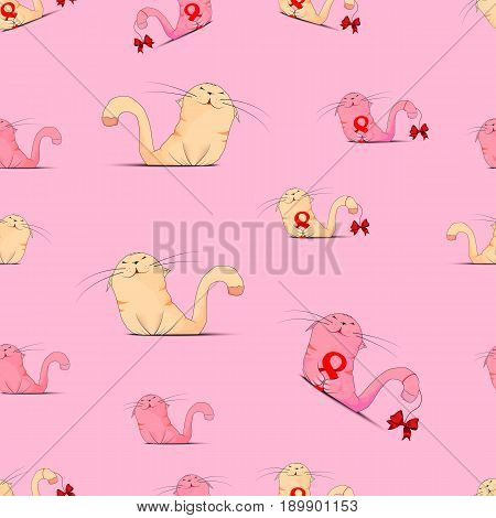 Seamless Texture With Cute Cats On A Pink Background. Enamored The Cat. Postcard With Cat Lovers. Ve