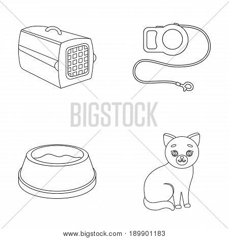 A container for an animal, a roulette leash, a bowl of food, a kitten.Cat set collection icons in outline style vector symbol stock illustration .