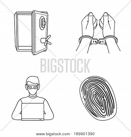 Opened safe, handcuffs on the hands, a hacker, a fingerprint. Crime set collection icons in outline style vector symbol stock illustration .