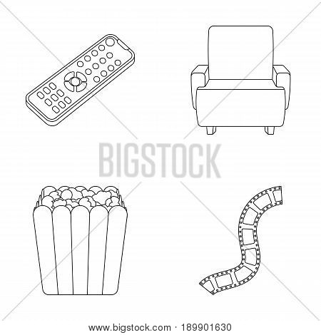 Control panel, an armchair for viewing, popcorn.Films and movies set collection icons in outline style vector symbol stock illustration .
