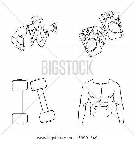 Personal trainer, gloves, dumbbells, a male torso. Fitness set collection icons in outline style vector symbol stock illustration .