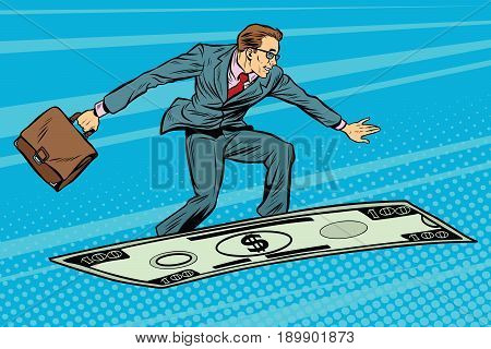 Businessman on flying money carpet plane. Pop art retro vector illustration