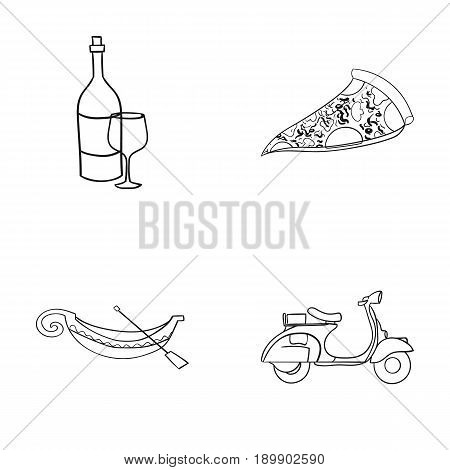 A bottle of wine, a piece of pizza, a gundola, a scooter. Italy set collection icons in outline style vector symbol stock illustration .