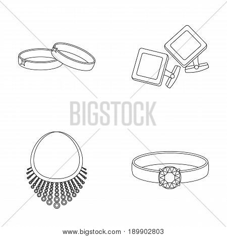 Wedding rings, cuff links, diamond necklace, women s ring with a stone. Jewelery and accessories set collection icons in outline style vector symbol stock illustration .