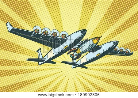 Airplane to send rockets into space. Pop art retro vector illustration