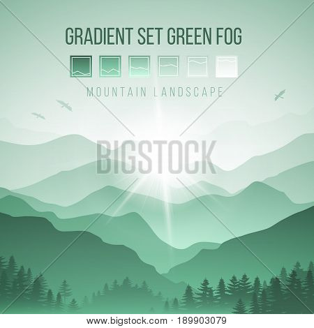 Abstract Landscape with Silhouettes of Misty Mountains and Forest in Green Colors at Sunrise with Birds in the Sky