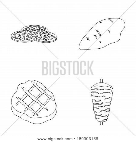 Pieces of salami, turkey fillet, grilled steak, kebab.Meat set collection icons in outline style vector symbol stock illustration .