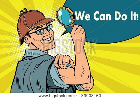 Sherlock Holmes detective sleuth. we can do it. Pop art retro vector illustration