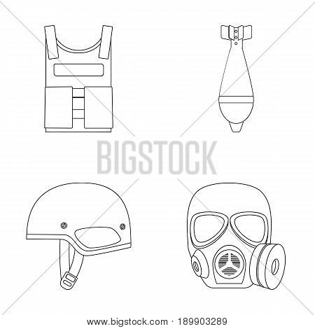 Bullet-proof vest, mine, helmet, gas mask. Military and army set collection icons in outline style vector symbol stock illustration .