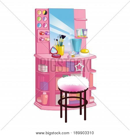 Woman dressing table with big mirror chair and cosmetic. Flat style vector illustration.
