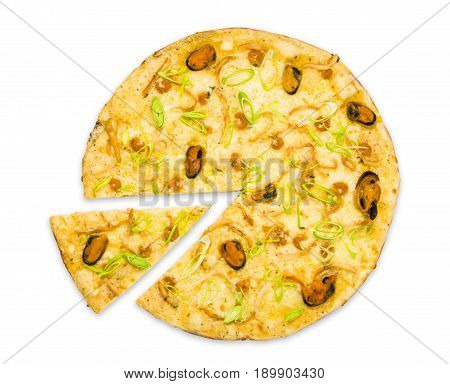 Italian seafood pizza with mussels isolated at white background, one slice cut off, top view