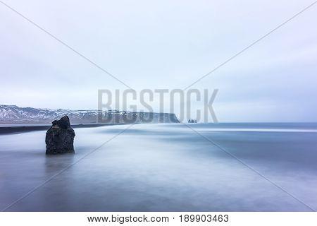 View On Kirkjufjara Beach, Iceland