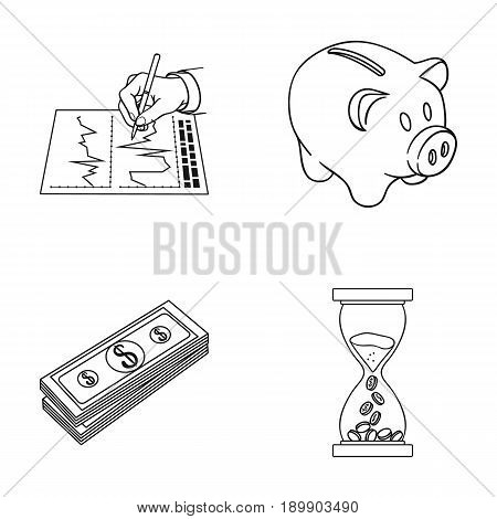 Bank, business schedule, bundle of notes, time money. Money and finance set collection icons in outline style vector symbol stock illustration .