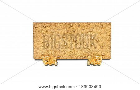 Facia made of stone,Chinese traditional. isolated on white background with clipping path.