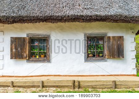 Two old antique windows with flowers in a vintage peasant white house in Ukraine. An antique wooden window frame with a door. Ancient peasant Ukrainian house in the spring with a thatched roof in the old village of national architecture Ukraine.