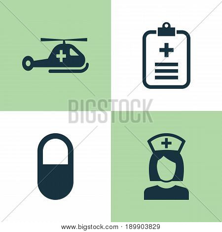 Drug Icons Set. Collection Of Copter, Analyzes, Pellet And Other Elements. Also Includes Symbols Such As Analyzes, Nurse, Pellet.