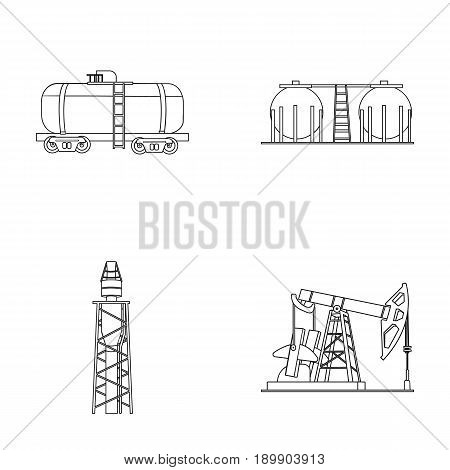A railway tank, an oil storage, a drilling tower, an oil pump. Oil industry set collection icons in outline style vector symbol stock illustration .