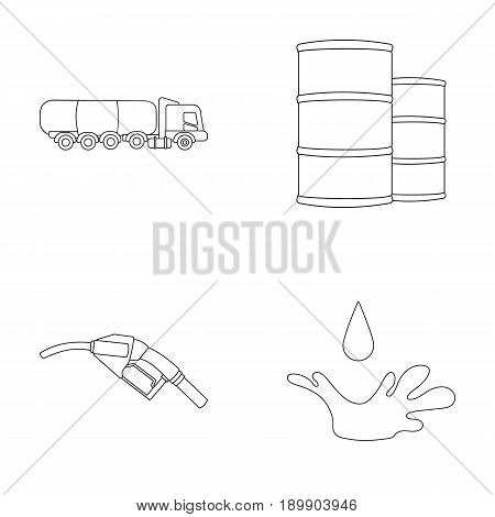 Truck with a cistern, barrels of fuel, a refueling gun, a drop of oil. Oil industry set collection icons in outline style vector symbol stock illustration .