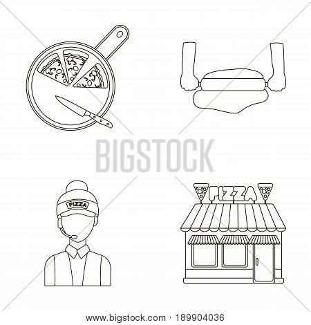 Pizza on a cutting board, a seller, a pizzeria, a rolling test. Pizza and pizzeria set collection icons in outline style vector symbol stock illustration .