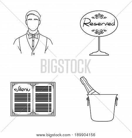 Waiter, reserve sign, menu, champagne in an ice bucket.Restaurant set collection icons in outline style vector symbol stock illustration .