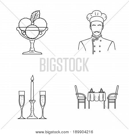 Ice cream with fruit, chef, candle and glasses, a covered table.Restaurant set collection icons in outline style vector symbol stock illustration .