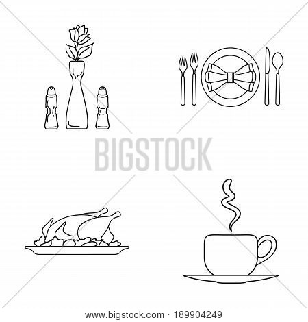 Vase with a flower, table setting, fried chicken with garnish, a cup of coffee.Restaurant set collection icons in outline style vector symbol stock illustration .