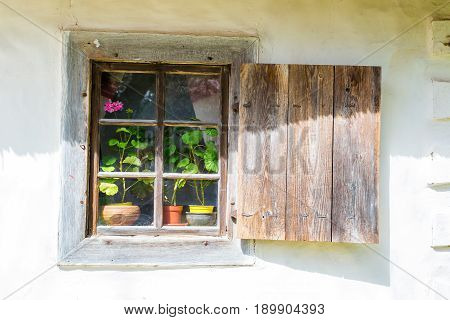 An old antique window with flowers in a vintage peasant white house in Ukraine. An antique wooden window frame with a door. Ancient peasant Ukrainian house in the spring with a thatched roof in the old village of national architecture Ukraine. National Mu