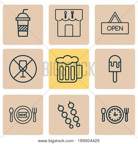 Cafe Icons Set. Collection Of Meal Hour, Stick Batbecue, Soda And Other Elements. Also Includes Symbols Such As Dining, Lunch, Board.
