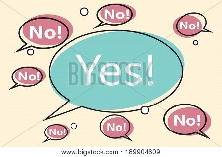 no yes comic bubble. Pop art retro vector illustration