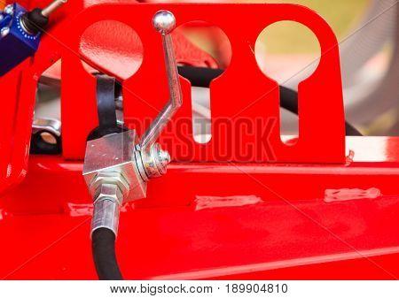 Screws On Steel Big Machinery Closeup