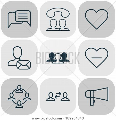 Communication Icons Set. Collection Of Follow, Group, Team Organisation And Other Elements. Also Includes Symbols Such As Instant, Heart, Communication.