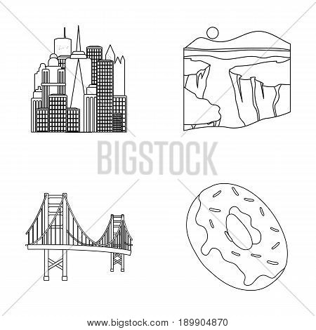 A megacity, a grand canyon, a golden gate bridge, donut with chocolate. The US country set collection icons in outline style vector symbol stock illustration .